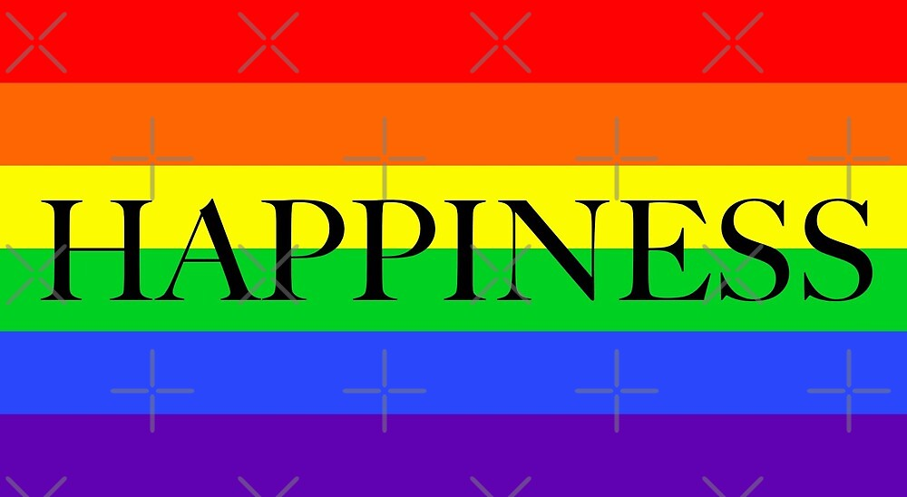 Large Pride Flag with Happiness by litmusician