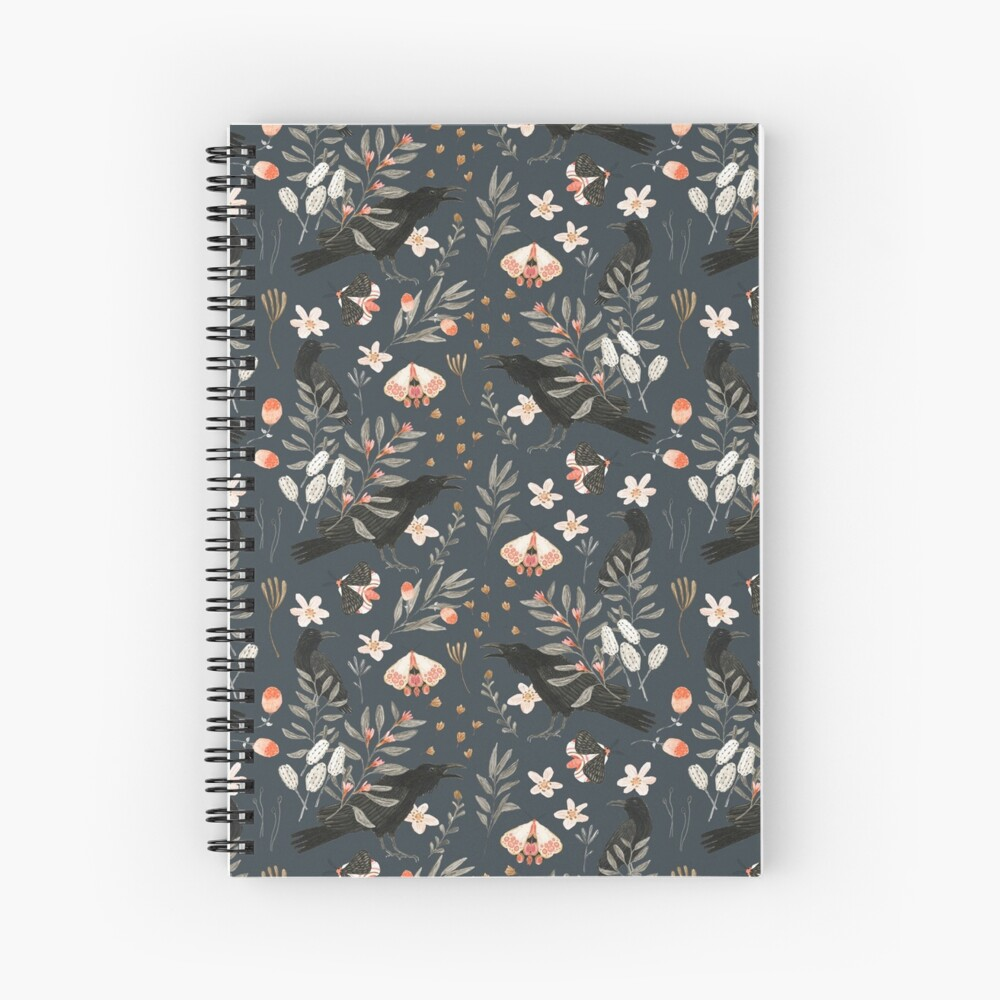 Black Crow and Butterflies Spiral Notebook