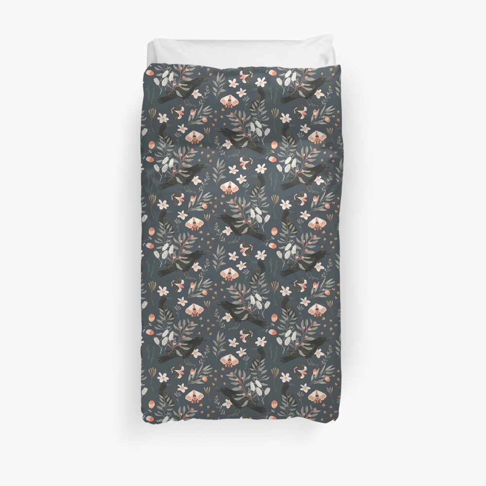 Black Crow and Butterflies Duvet Cover