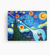 Van Gogh -ku / Goku Vs. Vegeta Dragon Ball Z Starry Night Metal Print