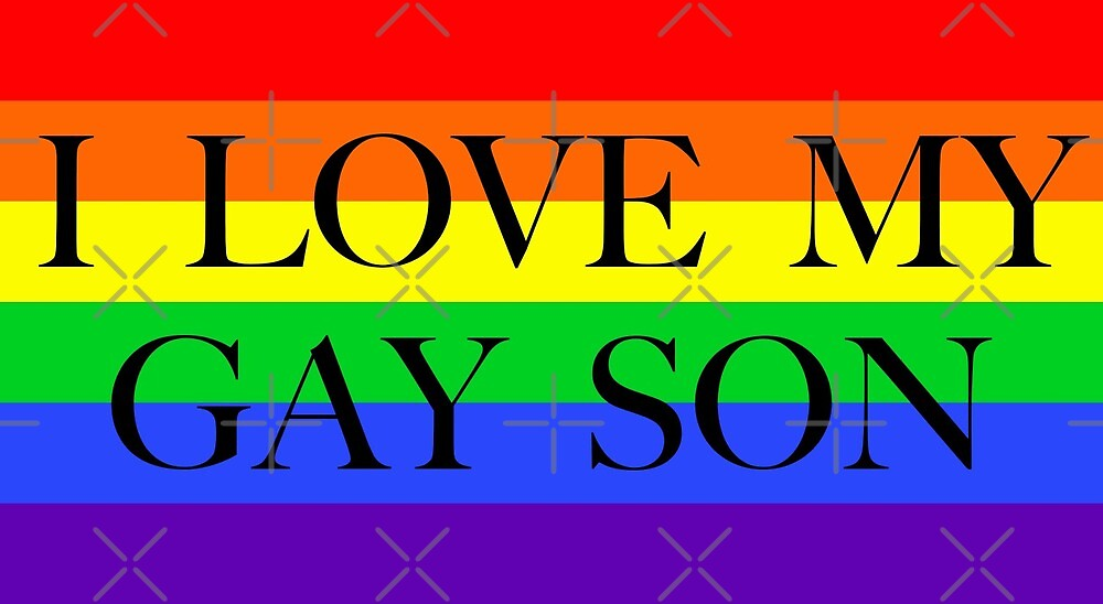 Large Pride Flag with I Love My Gay Son by litmusician