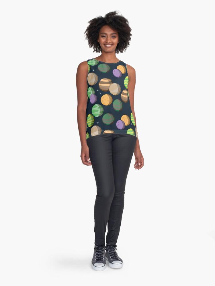 Vista alternativa de Blusa sin mangas Siete Planetas. Patrón