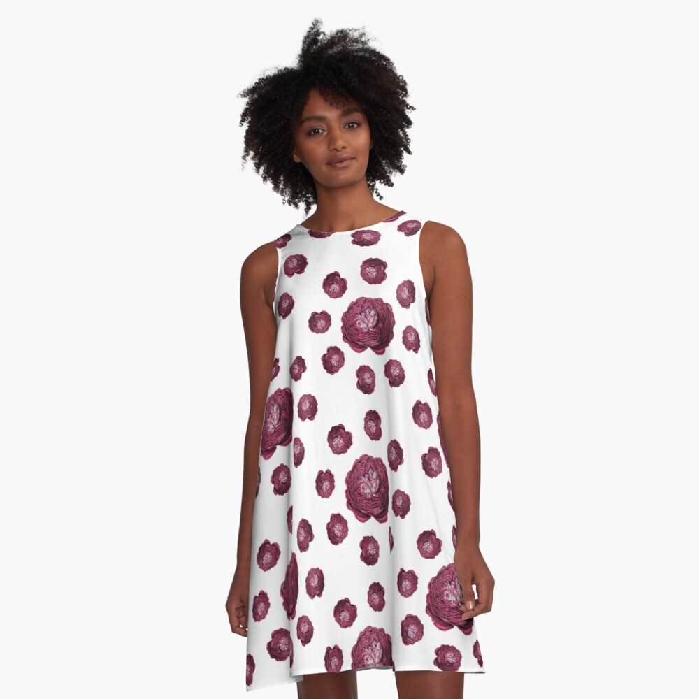 Purple Roses Pattern A-Line Dress Front