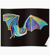 Cute Flying Halloween Bat Named Batrick Swayze Poster