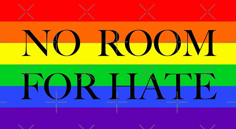 Large Pride Flag with No Room For Hate by litmusician