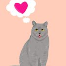 Valentines - Cat Cute Grey cat with Heart Love, Valentines Day, Valentines Cat, Kitten, Cute by PetFriendly