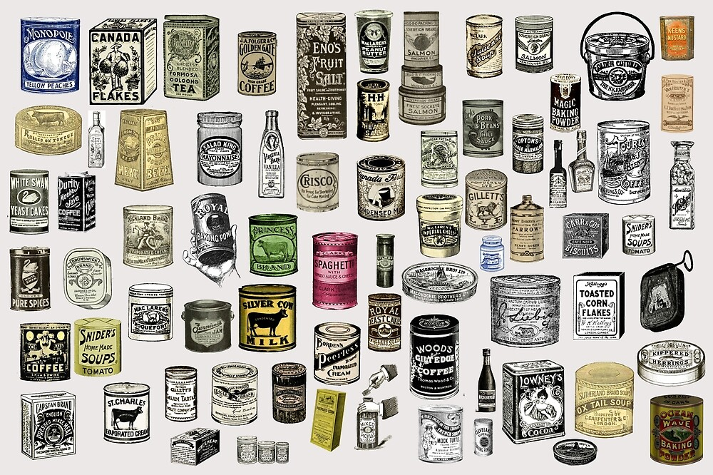 Vintage Victorian food cans collage by Anna Lemos
