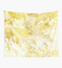 Golden Marble I gold and white abstract art Wall Tapestry