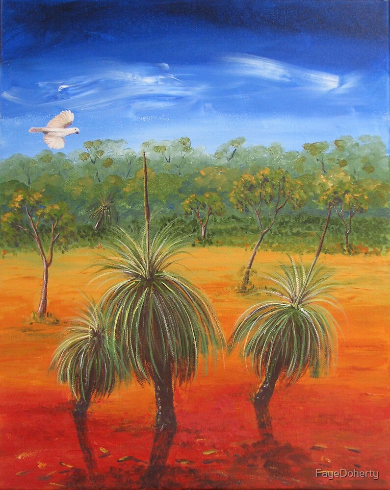 Cockatoo and grasstrees by FayeDoherty