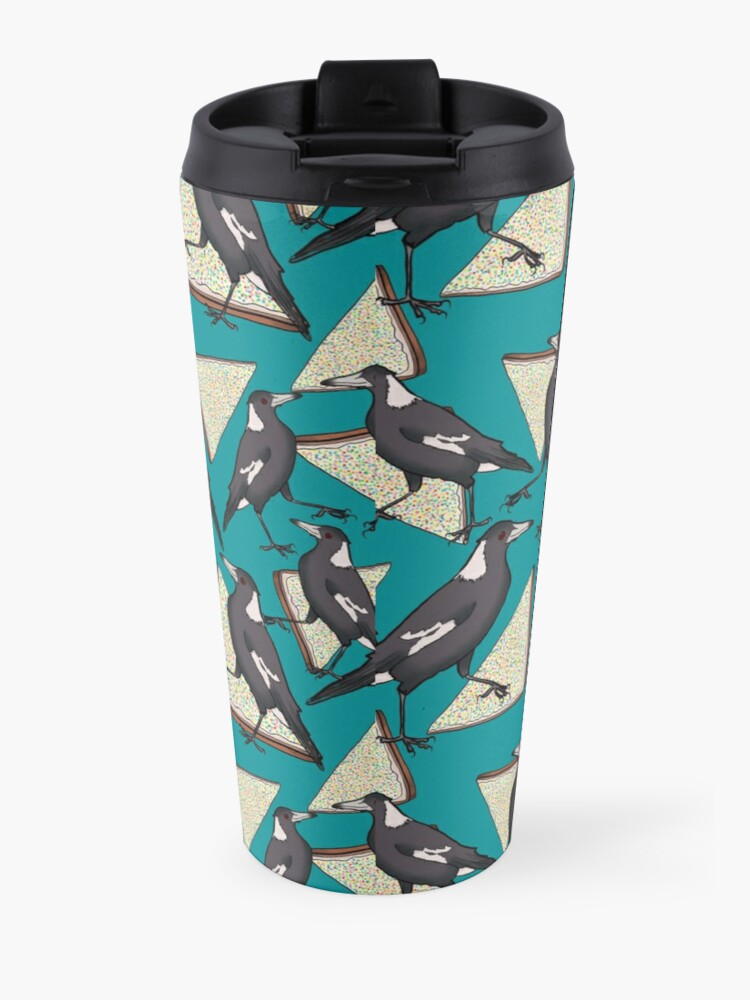 Alternate view of Magpies and Fairy Bread - Teal Travel Mug