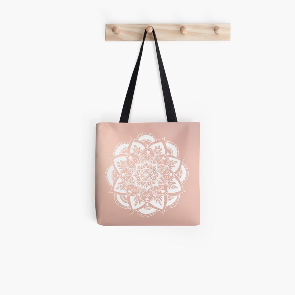 Blumenmandala auf Rosengold Stofftasche