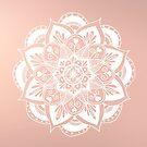 Flower Mandala on Rose Gold by julieerindesign