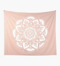 Flower Mandala on Rose Gold Wall Tapestry