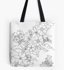 Spring flowers and butterflies -colorable design Tote Bag