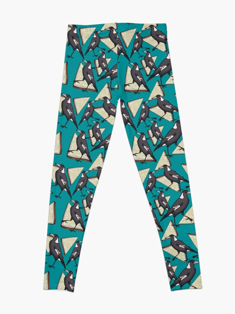 Alternate view of Magpies and Fairy Bread - Teal Leggings