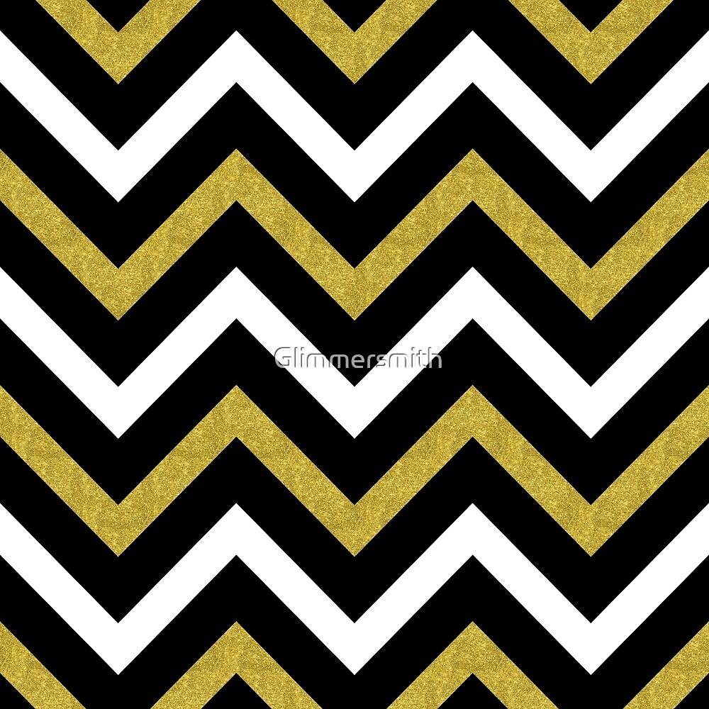 """bling chevron gold, black zig zag modern pattern""""glimmersmith"""