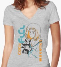 FLCL Mamimi and Ta-kun Women's Fitted V-Neck T-Shirt
