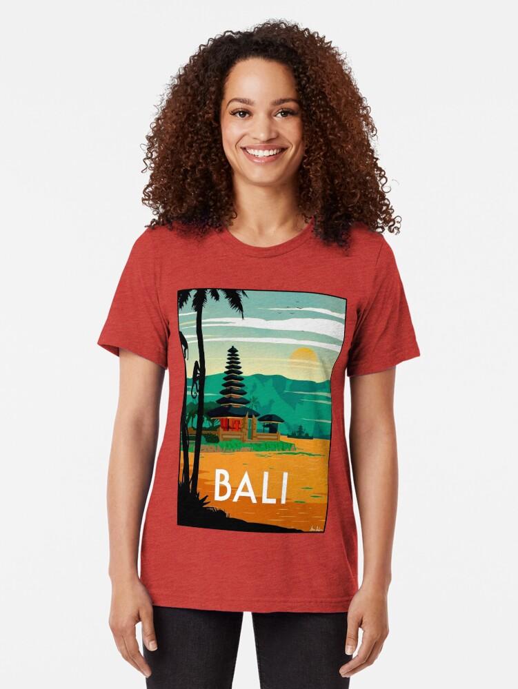 Vista alternativa de Camiseta de tejido mixto BALI: Publicidad publicitaria de viajes y turismo vintage