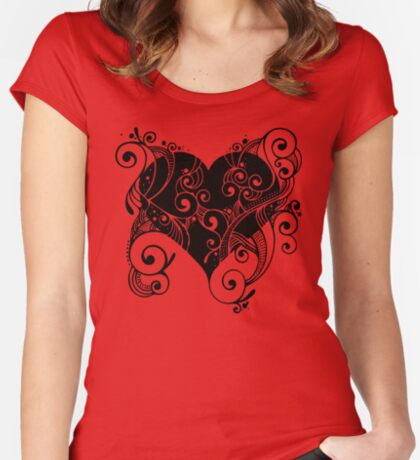 Ornate Heart Fitted Scoop T-Shirt