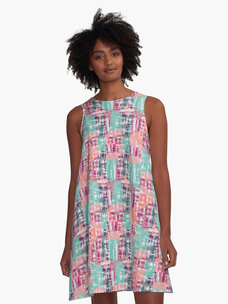 Abstract Pink A-Line Dress Front