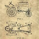 Antique Tractor blueprint patent drawing plan from 1929, Industrial farmhouse by Glimmersmith