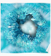 Aqua blue heart shaped stone crystals geode Poster