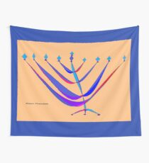 A Chanukah Greeting with Menorah Wall Tapestry