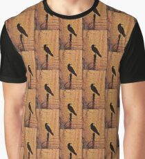 Creepy Crow in Glowing Scary Woods Graphic T-Shirt