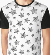 Lucky Stars Sketchy Pattern - Black On White Graphic T-Shirt