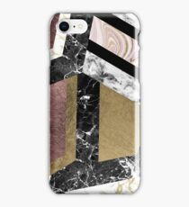 Abstract chic faux rose gold black white marble  iPhone Case/Skin