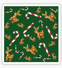 Cute Christmas Rudolph Candy Cane Pattern Green Sticker