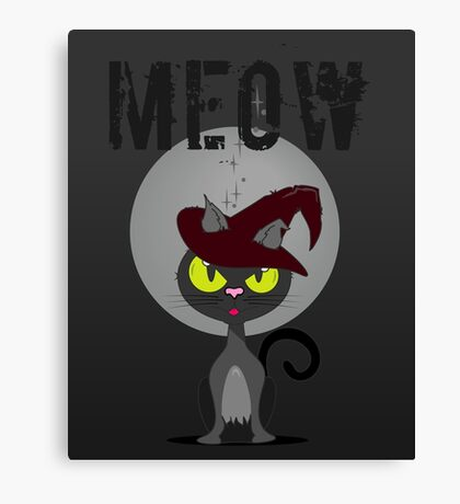 Halloween Cat & Witch Affiliate Feline VRS2 Canvas Print