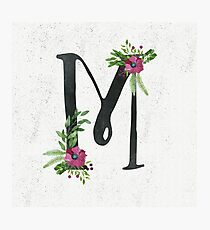 Monogram M with Floral Wreath Photographic Print