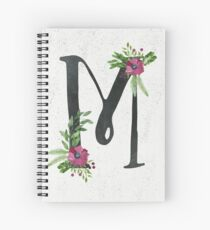Monogram M with Floral Wreath Spiral Notebook