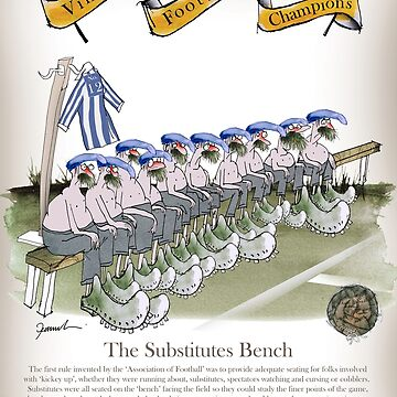 Vintage Football Blue White Stripes Substitutes Bench by tonyfernandes1