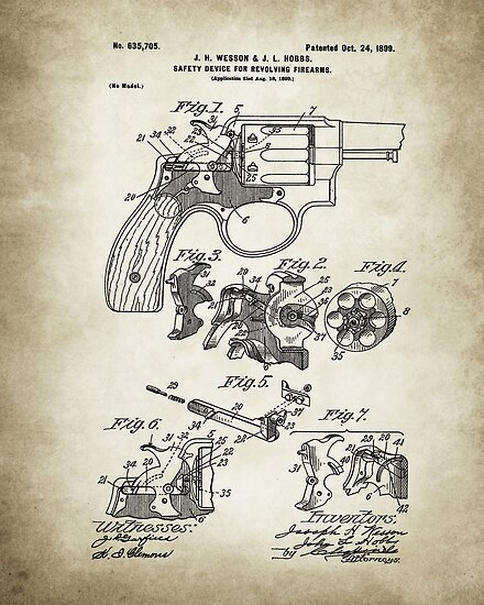 Smith and Wesson Hammerless Pistol 1898 Patent Poster Vintage Paper Background by Igor Drondin