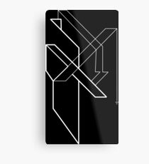 Architectural Voltage White on Black Metal Print