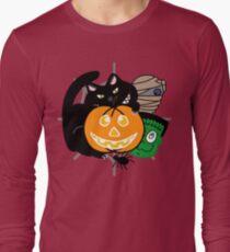 Halloween Pumpkin Frankenstein Black Cat Mummy Long Sleeve T-Shirt