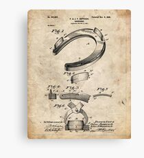 Horseshoe Patent Poster Vintage Paper Background Canvas Print