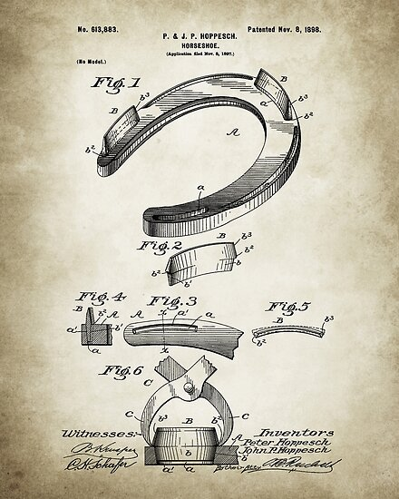 Horseshoe Patent Poster Vintage Paper Background by Igor Drondin
