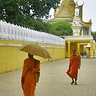 Monks with umbrella - Cambodia by Christophe Dur
