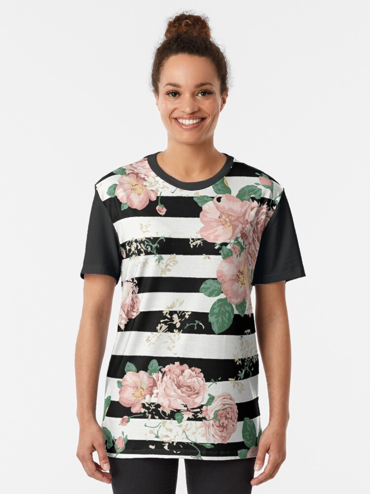 Alternate view of VINTAGE FLORAL ROSES BLACK AND WHITE STRIPES Graphic T-Shirt