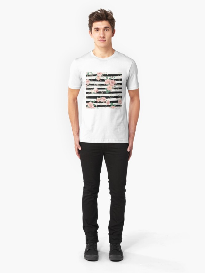 Alternate view of VINTAGE FLORAL ROSES BLACK AND WHITE STRIPES Slim Fit T-Shirt