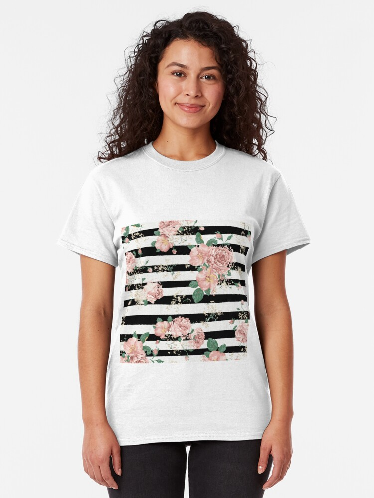 Vista alternativa de Camiseta clásica VINTAGE FLORAL ROSES BLACK AND WHITE STRIPES