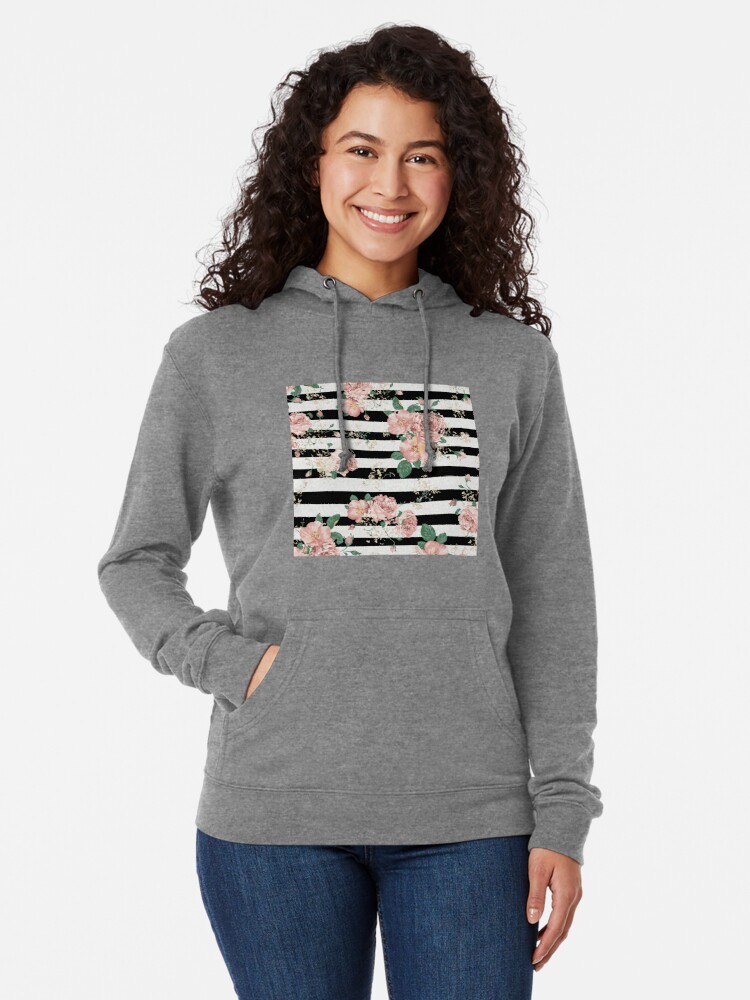 Vista alternativa de Sudadera ligera con capucha VINTAGE FLORAL ROSES BLACK AND WHITE STRIPES