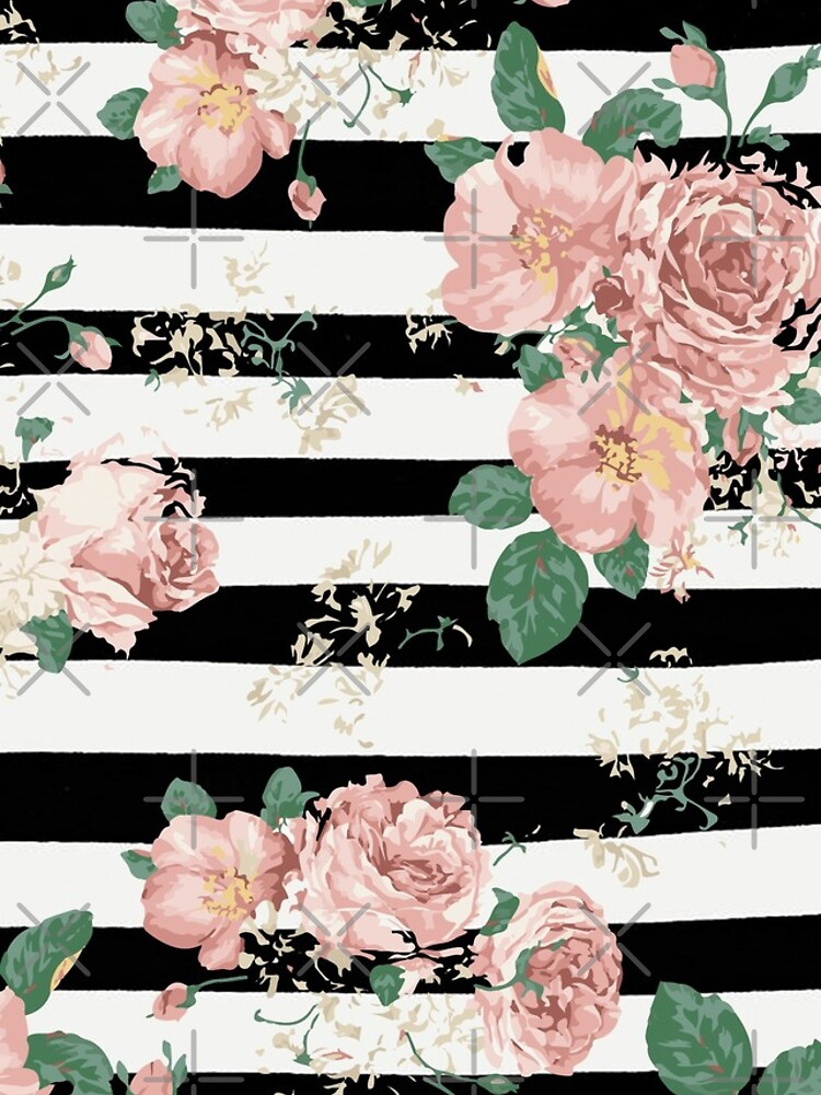 VINTAGE FLORAL ROSES BLACK AND WHITE STRIPES de xiari