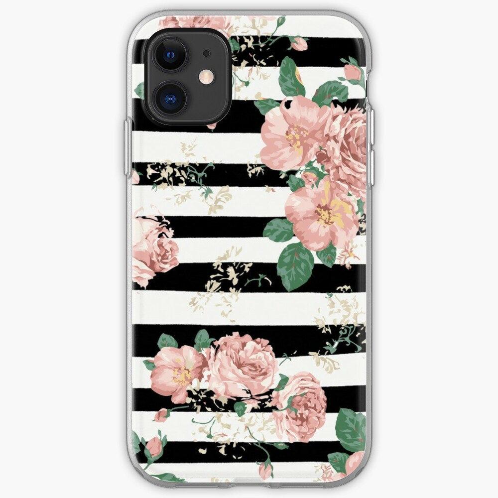 VINTAGE FLORAL ROSES BLACK AND WHITE STRIPES Funda y vinilo para iPhone