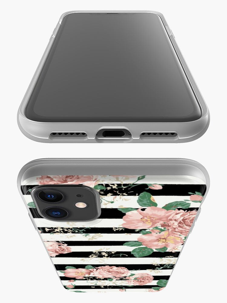 Alternate view of VINTAGE FLORAL ROSES BLACK AND WHITE STRIPES iPhone Case & Cover