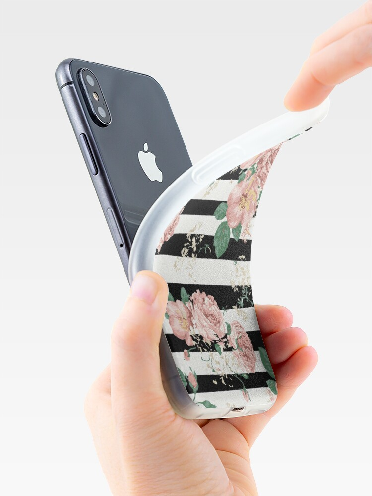 Vista alternativa de Funda y vinilo para iPhone VINTAGE FLORAL ROSES BLACK AND WHITE STRIPES