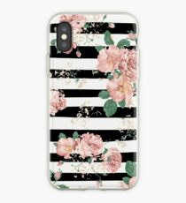 Vinilo o funda para iPhone VINTAGE FLORAL ROSES BLACK AND WHITE STRIPES